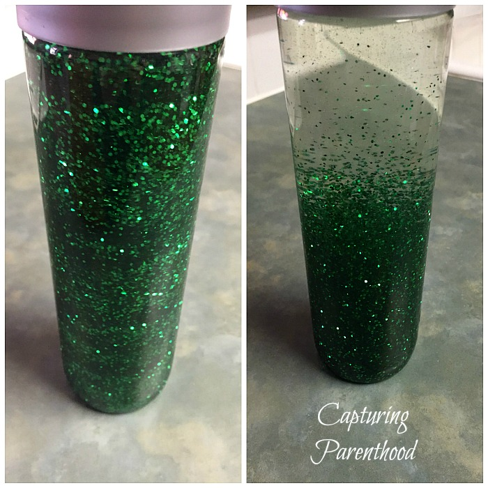 Glittering Shamrocks Sensory Bottle © Capturing Parenthood