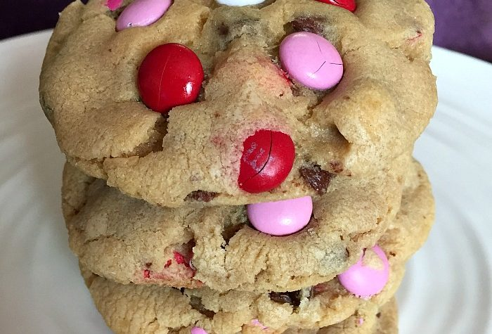 M&M Chocolate Chip Valentine's Cookies