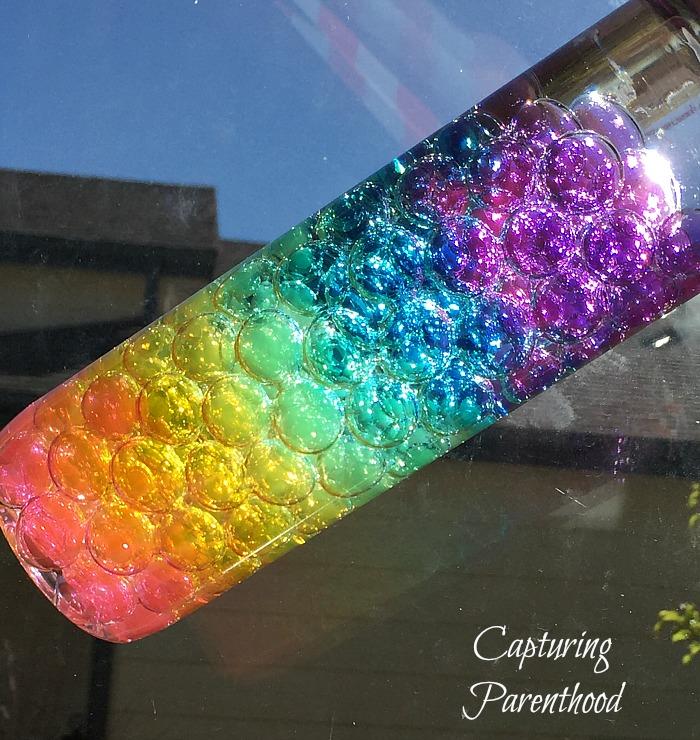 Rainbow Water Beads Sensory Bottle • Capturing Parenthood